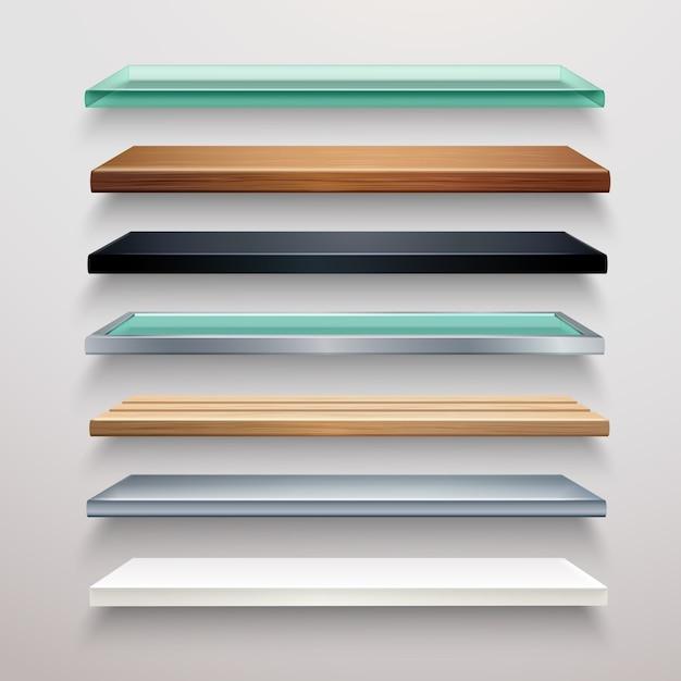 Realistic shelves set Free Vector