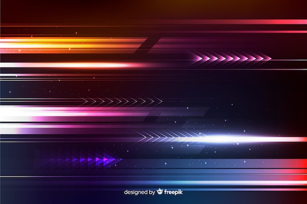 Realistic shining light movement background Free Vector