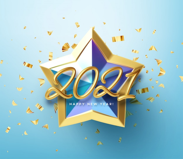 Realistic shiny 3d golden inscription 2021 happy new year on a blue gold star background. Premium Vector