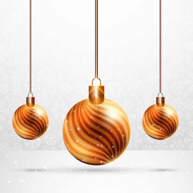 お祝いカードの背景にリアルな光沢のあるクリスマスボール 無料ベクター