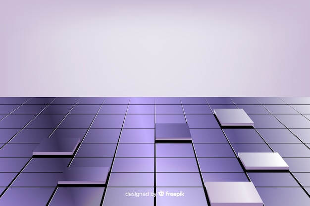 Realistic shiny cubes floor background Free Vector