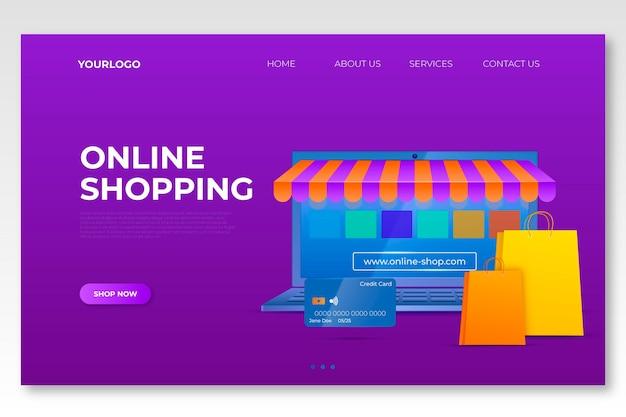 リアルなショッピングオンラインランディングページ 無料ベクター