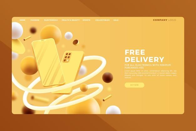 Реалистичные покупки онлайн целевой страницы Бесплатные векторы