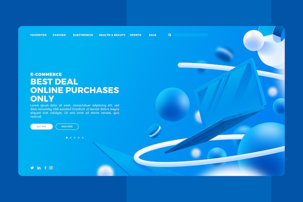 Realistic shopping online landing page Free Vector