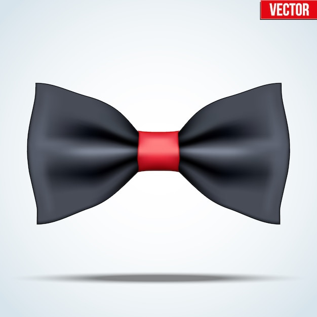 Realistic silk black and red bow tie. luxury accessories. fashion and trendy symbol. editable  illustration  on background. Premium Vector