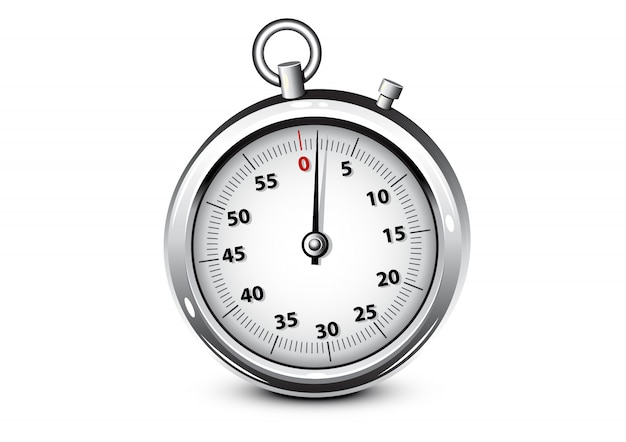 Realistic silver chronometer Premium Vector