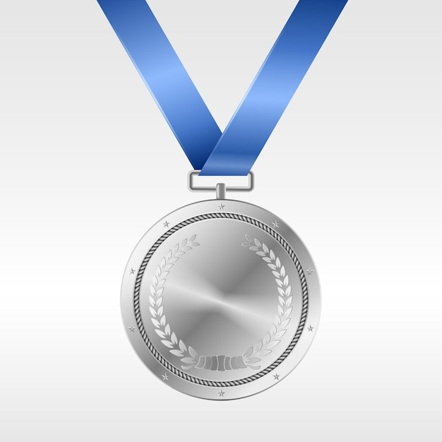 Realistic silver medal on blue ribbon: award for second place in competition. silver prize trophy Premium Vector
