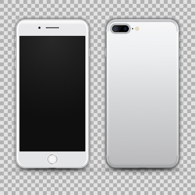 Realistic silver smartphone isolated on transparent background. front and back view Premium Vector