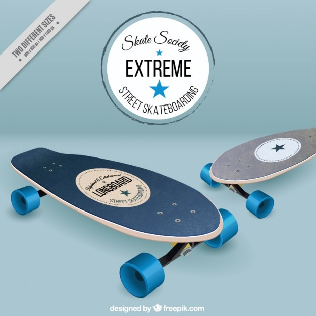 Realistic skateboards background
