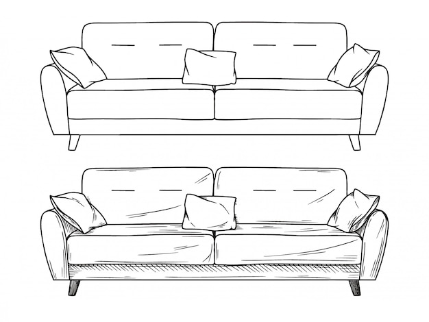 Realistic sketch of sofas Premium Vector