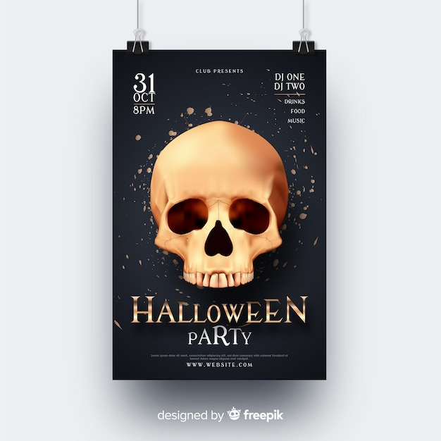 Realistic skull halloween party flyer Free Vector