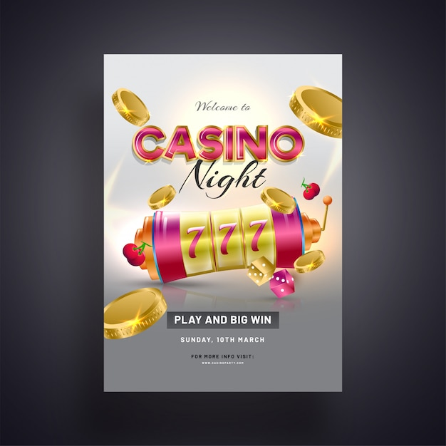 Realistic slot machine with golden coins illustration on grey ba Premium Vector
