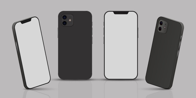 Realistic smarphone in different perspectives Free Vector