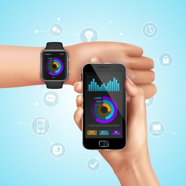 Реалистичные умные часы и мобильная технология композиции с синхронизацией со смартфона, чтобы смотреть векторные иллюстрации Бесплатные векторы