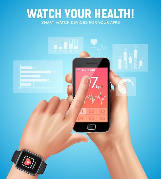 Реалистичная смарт-часы здоровье состав с смотреть ваш заголовок здоровья и рука человека векторная иллюстрация Бесплатные векторы