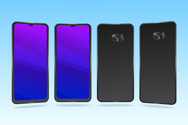Realistic smartphone in different perspectives Free Vector