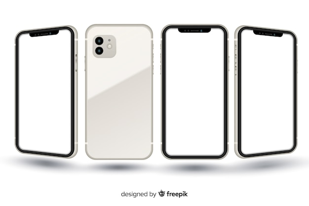 Realistic smartphone in different views Free Vector