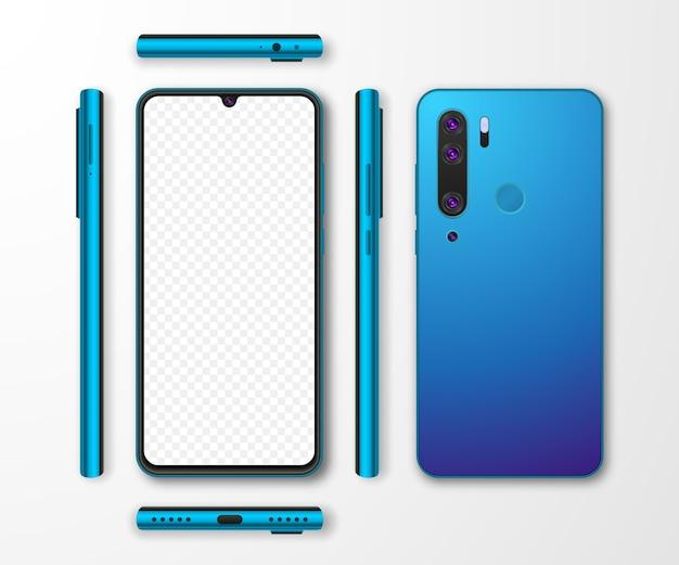 リアルなスマートフォンのモックアップセット。白灰色の背景に分離された携帯電話のディスプレイ。 3dテンプレートイラスト。 Premiumベクター