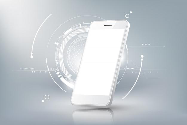 빈 디스플레이 격리 된 템플릿 및 미래 기술 개념, 휴대 전화 추상적 인 배경, 일러스트와 함께 현실적인 스마트 폰 모형 투시도 프리미엄 벡터