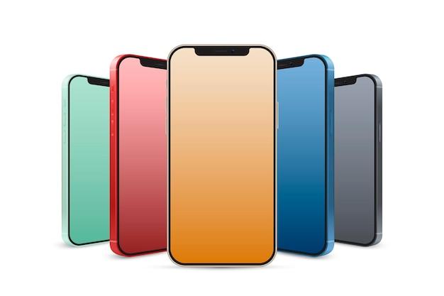 현실적인 아이폰 12 공식 색상 무료 벡터