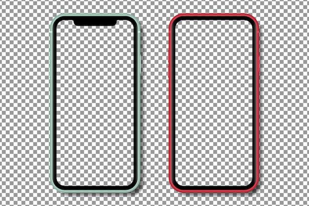 透明なスクリーンを備えたリアルなスマートフォン。透明な背景に分離されたスマートフォンのモックアップ。リアルなイラスト。 Premiumベクター