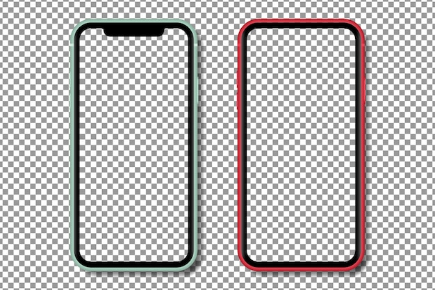Realistic smartphone with with transparent screen. smartphone mockup isolated on transparent background. realistic illustration. Premium Vector