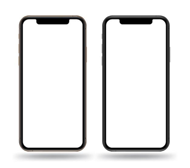 Realistic smartphones mockups gold and black color. Premium Vector