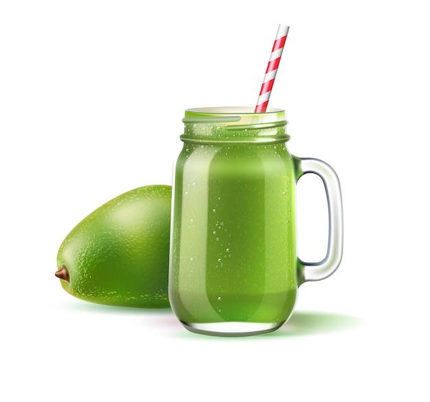 짚과 아보카도 과일과 함께 현실적인 스무디 메이슨 항아리. 녹색 과일과 야채는 유리 항아리에 섞입니다. 건강한 다이어트를위한 디톡스 칵테일. 시금치, 키위, 셀러리 쉐이크. 비타민 칵테일 프리미엄 벡터