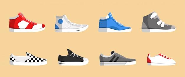 Realistic sneakers icon set Premium Vector