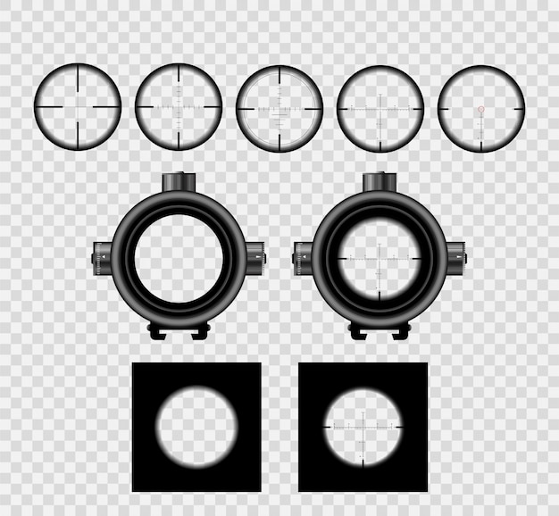 Realistic sniper scope sight with measurement marks collection  set. Premium Vector
