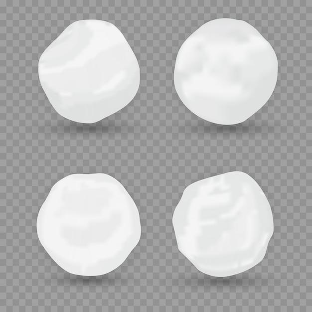 現実的な雪の世界のイラスト。分離された雪だるまアイコンのセットです。図。スノーサークル。 Premiumベクター