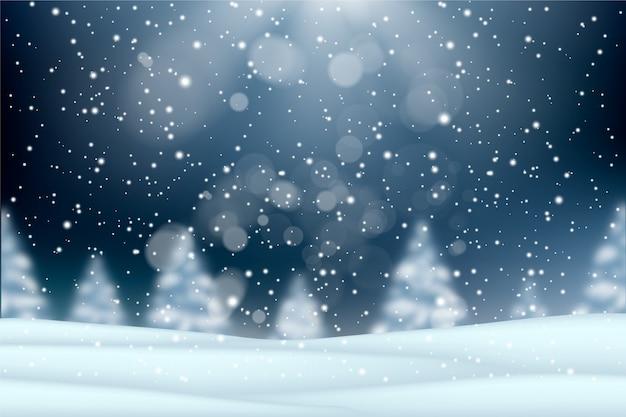 Реалистичная снегопад фон концепция Premium векторы