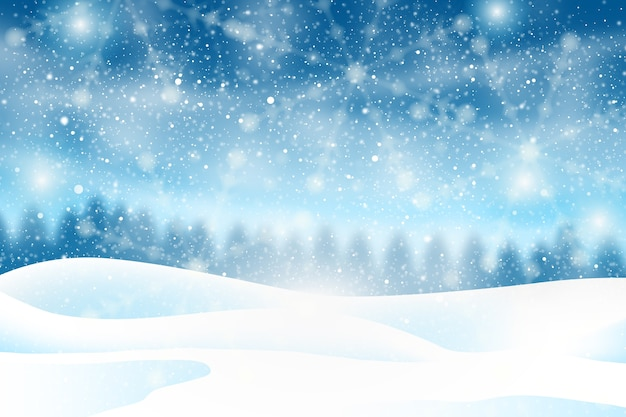 Realistic snowfall background Free Vector