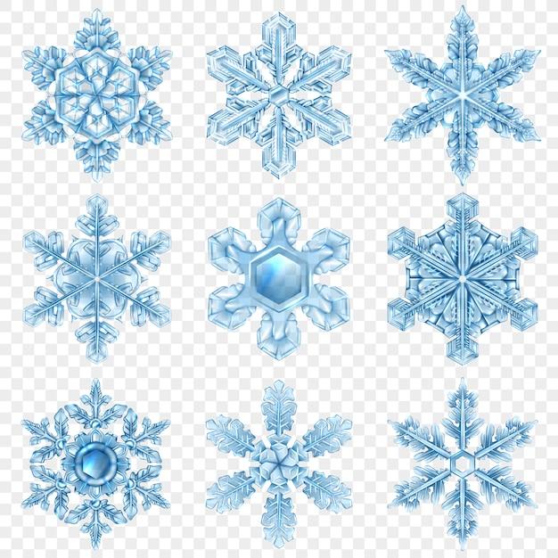 Set realistico di fiocchi di neve Vettore gratuito