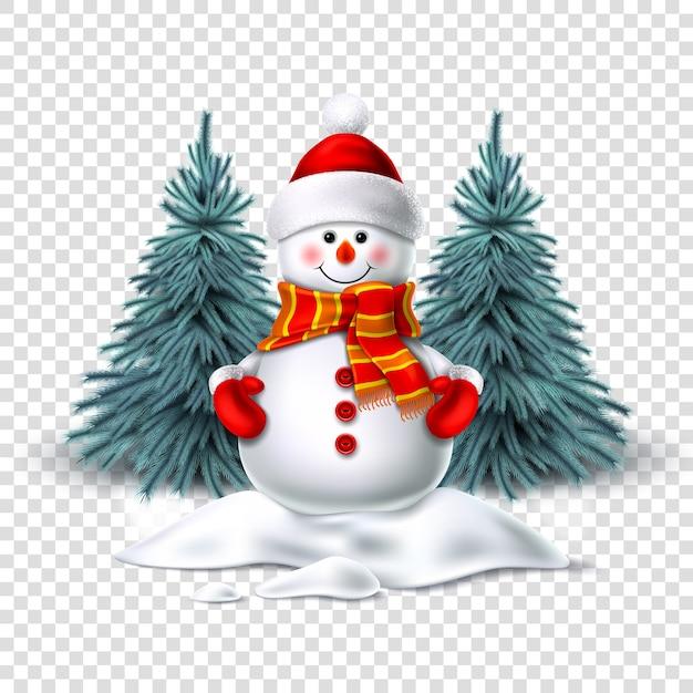 Реалистичный снеговик улыбается стоя в снегу возле елей. рождественский персонаж Premium векторы