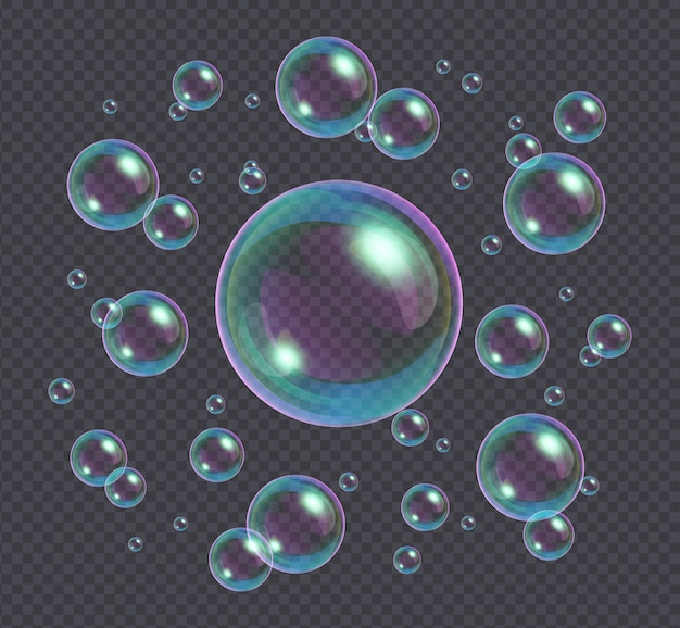Realistic soap bubbles with rainbow reflection isolated on transparent Premium Vector