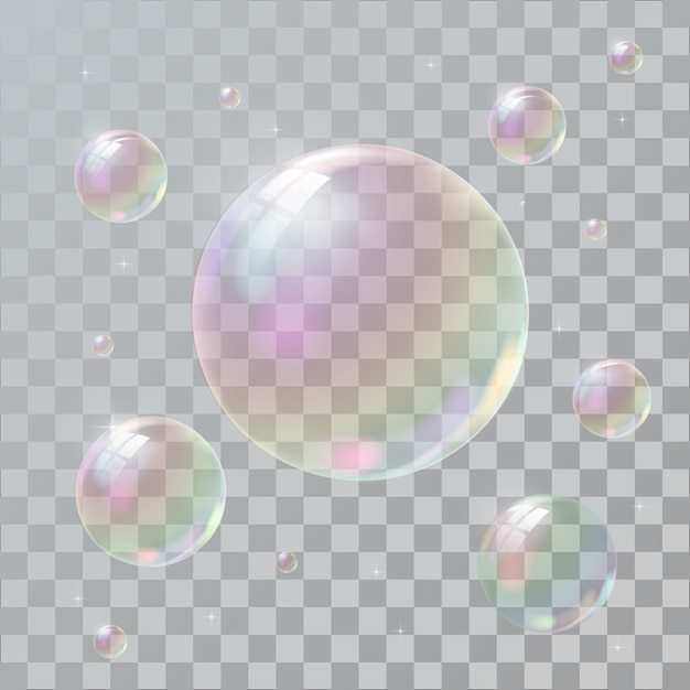 Realistic soap bubbles with rainbow reflection Premium Vector