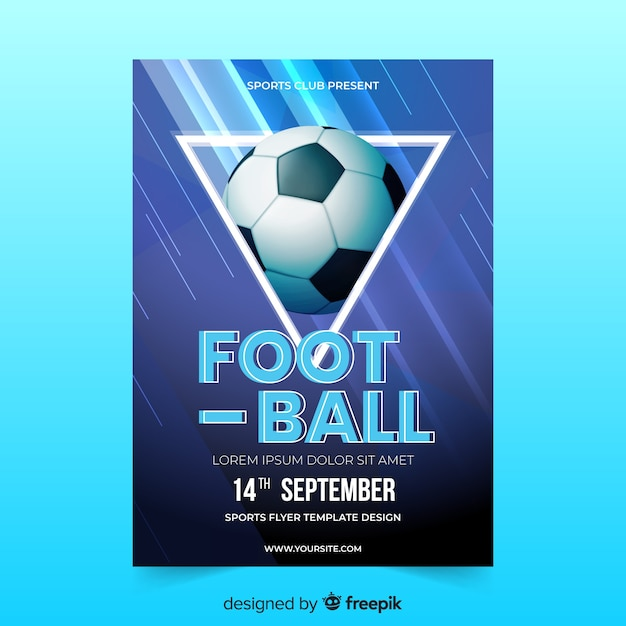 Realistic soccer ball poster template Free Vector