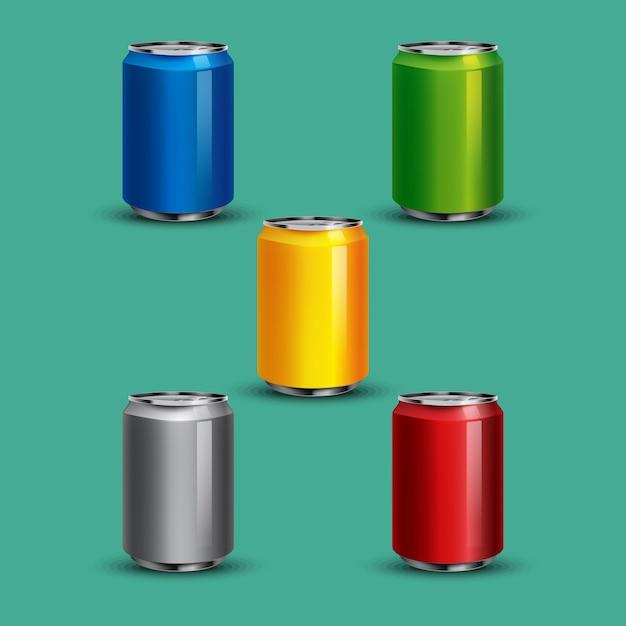 Realistic soda can illustrations Premium Vector