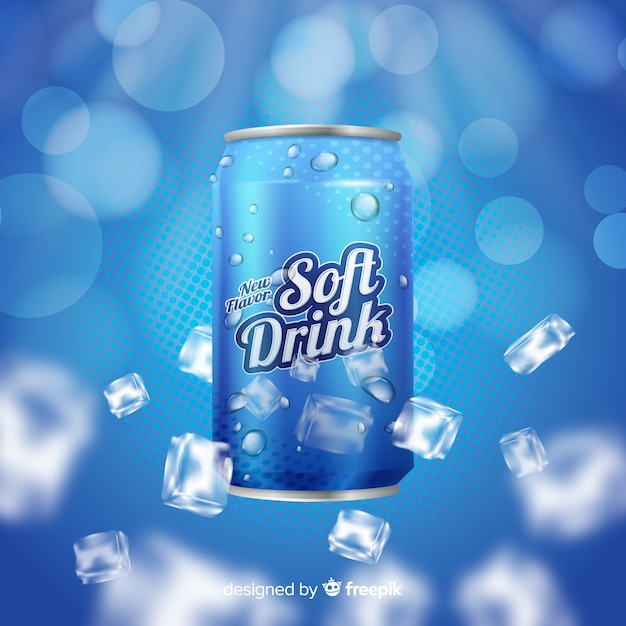 Realistic soda with ice advertisement Free Vector