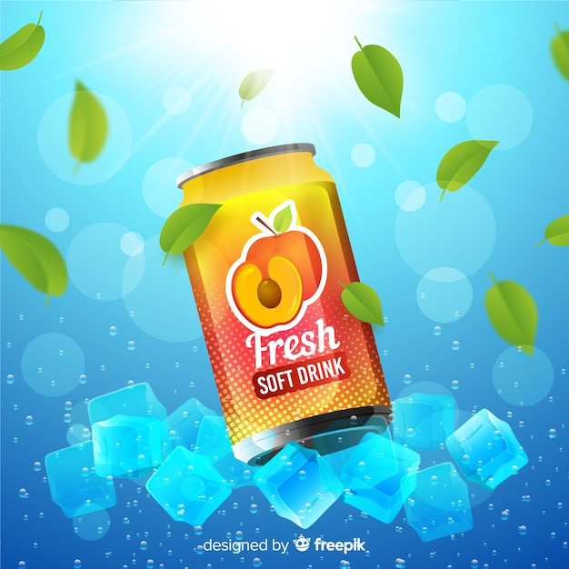 Realistic soft drink ad poster Free Vector