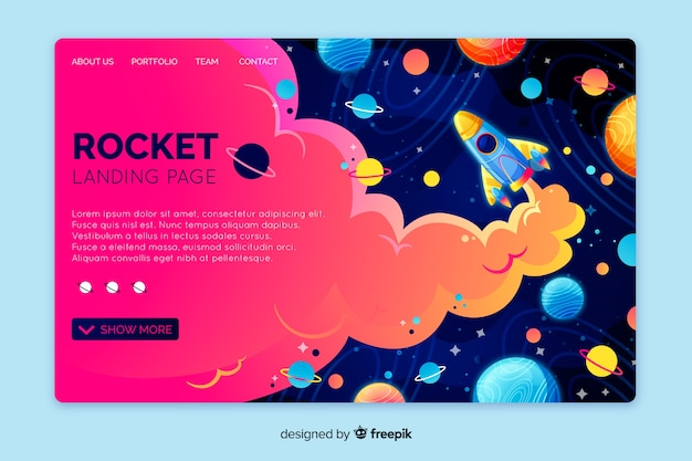Realistic space landing page template Free Vector