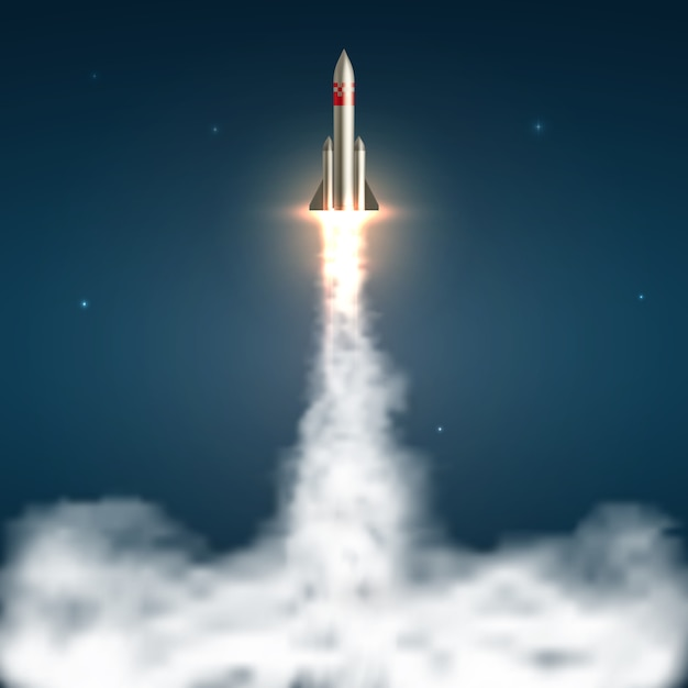 Realistic space rocket launch Premium Vector