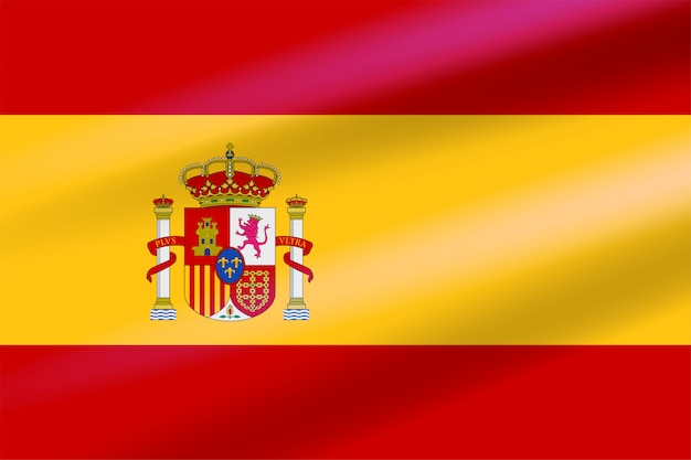 盾の背景に王冠、ライオン、城の紋章付きで風に発達する現実的なスペイン国旗。フラットベクトルエンブレム。 Premiumベクター