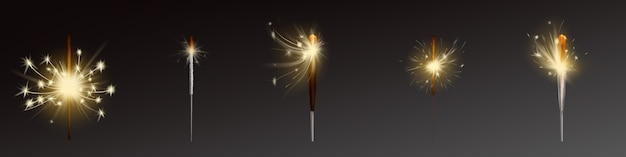 Realistic sparklers set, wind blows sparks. Free Vector