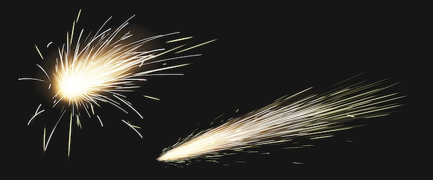 Realistic sparks of weld metal blade, firework Free Vector