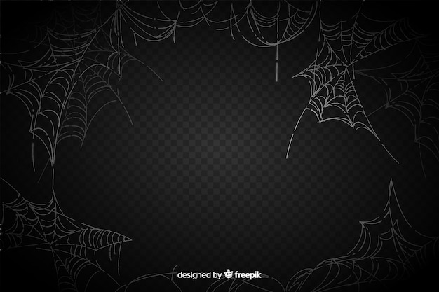 Realistic spider web on black background Free Vector
