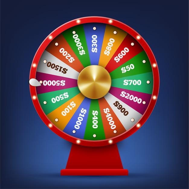 Realistic spinning fortune wheel Premium Vector