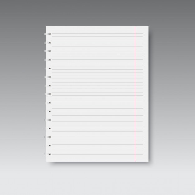 Realistic spiral lined and red line notebook  Vector