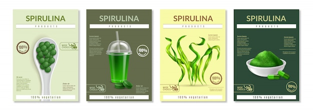 Realistic spirulina flyer template set Free Vector